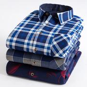 冬季男士保暖长袖衬衫弹力格子寸衣中老年加绒加厚爸爸装
