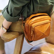 原创秋季上新小包包手工牛皮女包复古拼接小方包文艺单肩斜挎包