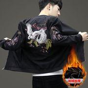 秋冬装唐装外套男青年中国风刺绣加绒夹克男装棒球服潮流