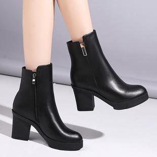 短靴女粗跟高跟中筒靴马丁靴秋冬短筒女靴圆头防水台真皮厚底女鞋