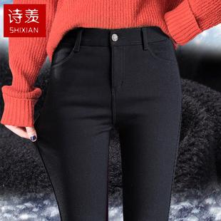 加绒打底裤女外穿加厚显瘦保暖2018冬季小脚铅笔裤黑色裤子女
