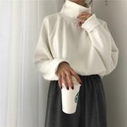 秋冬女装百搭显瘦高领加厚长袖针织衫宽松纯色套头毛衣外套