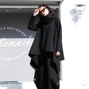 大码长袖T恤女2018秋冬高领不规则下摆打底衫宽松纯色上衣潮