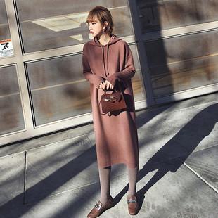 2018秋冬季女装中长款宽松套头毛衣裙针织衫打底衫连帽厚外套