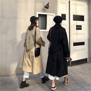 复古翻领双排扣中长款长袖风衣秋装女2018宽松工装外套