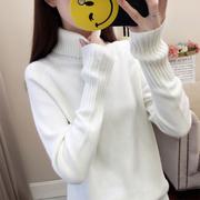 2018秋冬女装高领毛衣宽松百搭套头衫纯色长袖打底衫厚针织衫