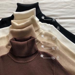 黑色打底衫毛衣女秋2018chic紧身上衣高领长袖针织衫