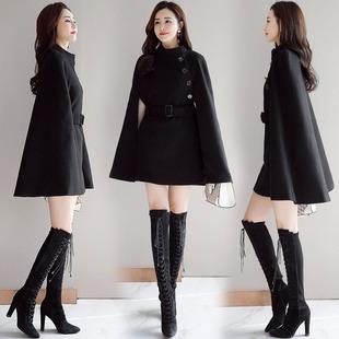 毛呢斗篷外套女秋冬蝙蝠型宽松大码夹棉厚中长款黑色呢子大衣