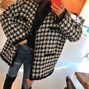 韩国2019春黑白千鸟格毛呢外套女中长款小香风流苏边格子呢子大衣