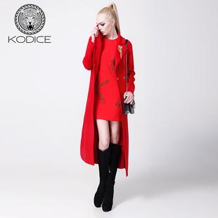 KODICE早秋时尚钉珠简约红色圆领无袖收腰包臀连衣裙小礼服