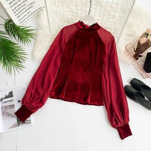 欧美风复古纯色丝绒拼接雪纺泡泡袖ins网红显瘦上衣T恤雪纺衫