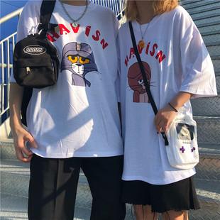韩国复古童趣卡通印花情侣上衣打底短袖T恤 男女款