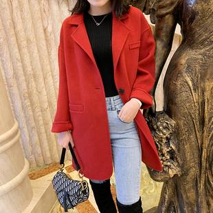双面尼中长款女大衣赫本风酒红色翻领羊毛西服外套