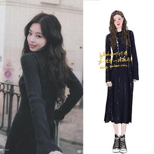 2021秋季blackpink jennie同款黑色针织连衣裙修身打底长款毛衣裙