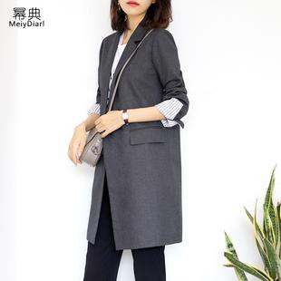 灰色西装外套女中长款2019春季宽松气质女士小西服