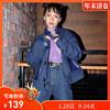 h2co3 高领皮革拼接短外套女2018秋宽松夹克chic慵懒上衣