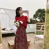 夏装2019套装显白针织短袖上衣女+高腰碎花半身裙两件套