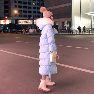 雾霾蓝棉服女2018冬装显瘦棉袄小个子中长款网红棉衣外套