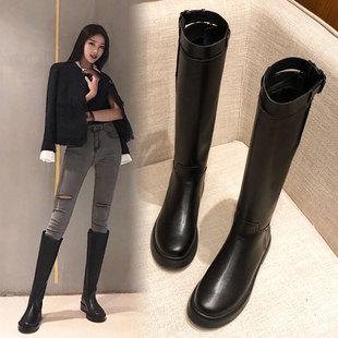 鞋子女冬棉鞋不过膝2018加绒网红瘦瘦平底真皮高筒骑士长筒靴
