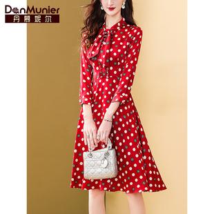 丹慕妮尔红色飘带波点连衣裙女2021春装收腰显瘦气质新年裙子