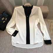 三十不惑同款真丝衬衫2020秋季长袖黑白撞色拼色基本款衬衫女