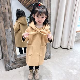 童装2018冬装女童中长款连帽呢子外套宝宝夹棉加厚呢大衣儿童