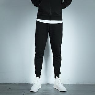 秋冬季纯棉束脚哈伦加厚运动裤男长裤子收口收腿小脚卫裤