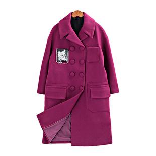 大牌雪亮点在后背款 双排扣长款羊毛呢外套大衣女装1534