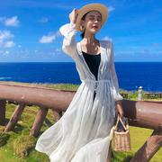 雪纺超仙防晒衣开衫女2021夏季薄中长款宽松外搭披肩长衫外套