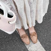方头粗跟单鞋2019春季蝴蝶结工作鞋女浅口真皮舒适低跟鞋