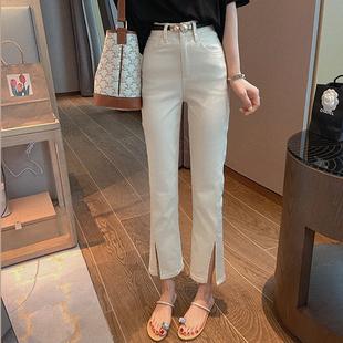 开叉白色裤女夏季薄款2021高腰显瘦直筒九分微喇牛仔裤小个子