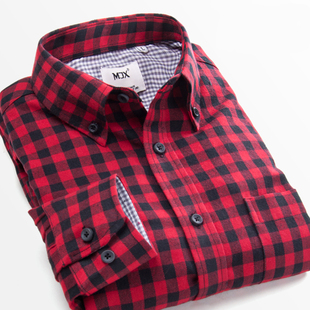 MJX春季磨毛男士格子加绒衬衫长袖青少年打底保暖衬衣