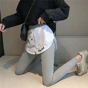 运动裤女秋冬加绒紧身保暖假两件小脚打底裤子女学生