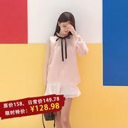 原创设计秋冬打底日系甜美欧根纱蝴蝶结木耳边粉色长袖衬衫上衣女