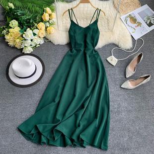 马尔代夫度假长裙交叉吊带露背纯色泰国海边中长款大摆仙女连衣裙