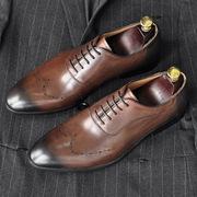 手工真皮男士尖头商务正装皮鞋复古婚鞋英伦潮流单鞋透气德比鞋