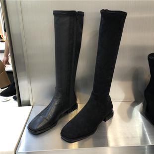 东大门2019秋冬方头低跟侧拉链高筒靴女靴马丁靴欧美显瘦靴子