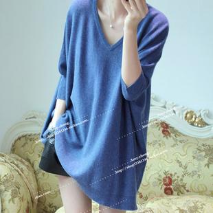欧美春秋宽松百搭时尚女v领套头大码毛衣中长款蝙蝠袖针织衫