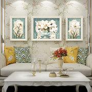 起贝家简欧风格蓝色花卉装饰画欧式客厅三联挂画美式乡村田园壁画