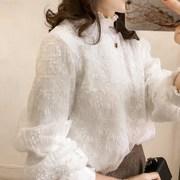 大码蕾丝衫显瘦T恤女秋季加肥半高领长袖打底衫雪纺上衣200斤