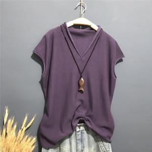 春夏季女装纯棉短袖V领套头文艺打底衫女宽松大码针织衫