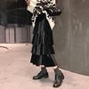 冬季黑色裙子半身裙女秋冬中长款a字长裙2018高腰丝绒蛋糕裙
