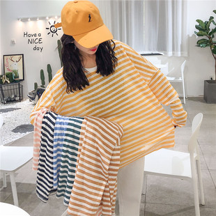 韩国夏季条纹oversize防晒衣罩衫长袖薄款宽松大码t恤女上衣ins潮