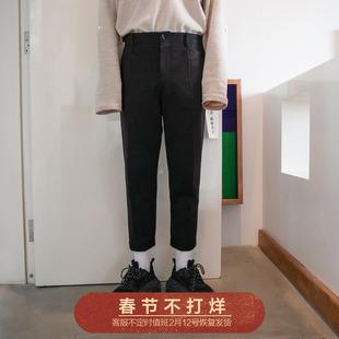 西西里男装直筒九分裤毛呢宽松小西裤子男潮流西装裤