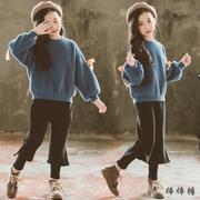 女童水貂绒针织毛衣洋气中大童冬季加绒假两件阔腿裤子套装潮