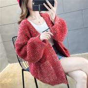 2019秋季马海毛亮丝毛衣大码宽松针织衫女开衫网红洋气潮外套