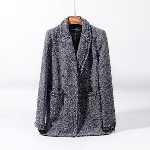 春季粗纺毛须须西装经典OL风格职业女装外套长袖上衣