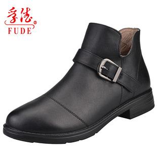 孚德女鞋春秋款牛皮圆头短筒单靴舒适低跟侧拉链女靴皮靴