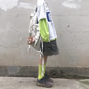 夏季韩国ins原宿风街头复古卡通短袖T恤+荧光纯色打底长袖防晒衫