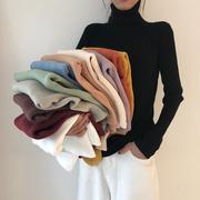 chi韩风秋冬季时尚百搭高领打底针织衫女弹力加厚糖果色毛衣